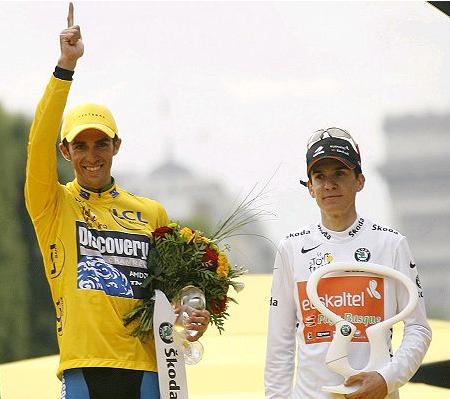 Amets Txurruka eta Contador 2008ko podiumean