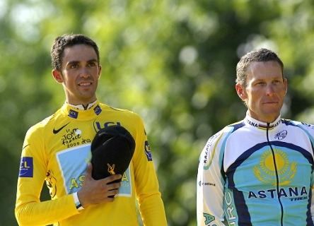 Contador eta Armstrong 2009 Tourreko podiumean